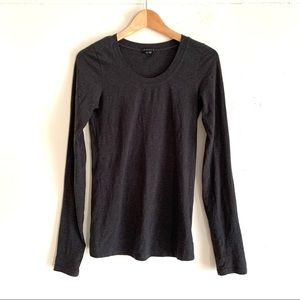 THEORY Charcoal Tiny Scoop-neck Long Sleeve Tee